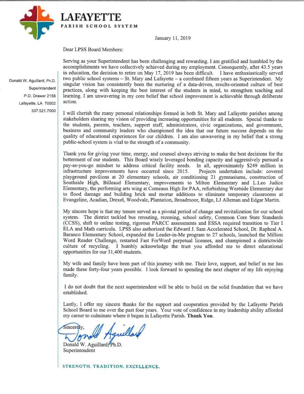 Donald Aguillard resignation letter