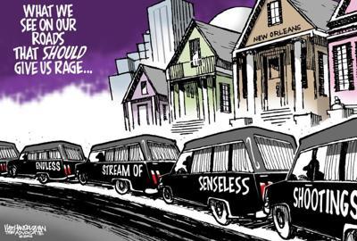 Walt Handelsman: Sickening stream of senseless shootings rolls on ... _lowres