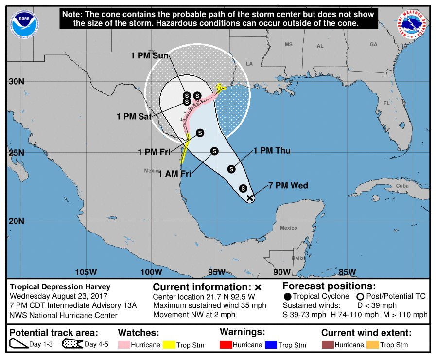 Tropical storm (Harvey) is expected to hit Texas