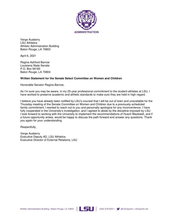 Verge Ausberry Senate committee letter