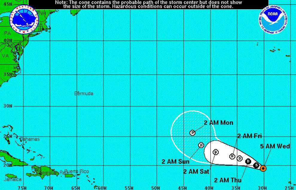 Tropical Storm Fred continues to weaken over Atlantic _lowres