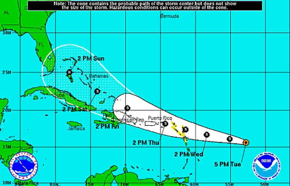Tropical Storm Erika likely to intensify over coming days; see updated track _lowres
