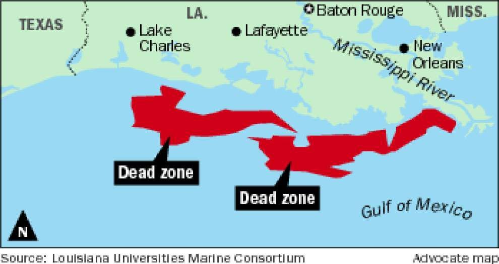 Dead zone off Louisiana coast slightly larger than last summer, but triple the size of the target set by a task force _lowres