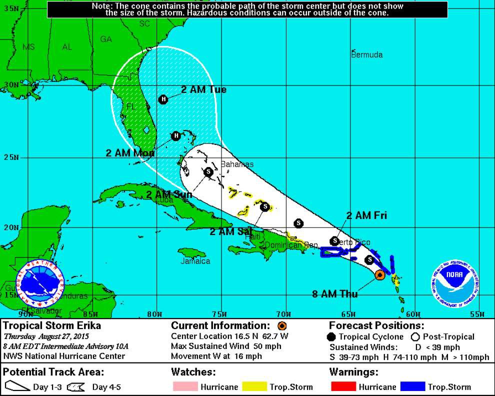 Tropical Storm Erika strengthens, moves toward Puerto Rico and Virgin Islands _lowres