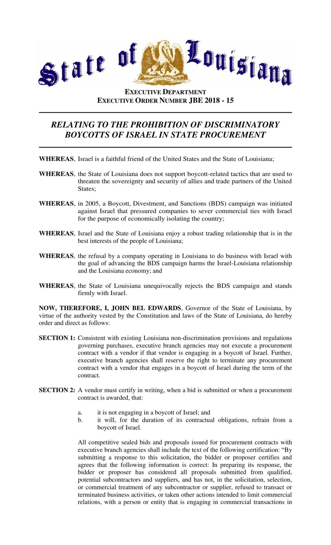 Pdf Gov John Bel Edwards Executive Order On State Contractors And
