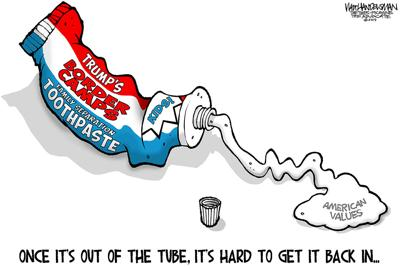Walt Handelsman: Toothpaste Out of the Tube...