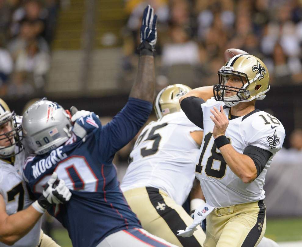 Subject to review: Offensive line provides strong pass protection against Patriots _lowres