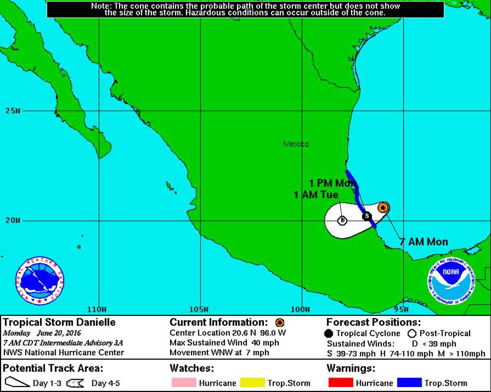 Tropical Storm Danielle forms in Gulf, spreads rain across eastern Mexico _lowres