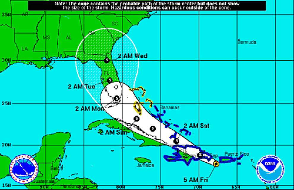 Forecasters say Erika projected to hit Florida late Sunday as tropical storm, not hurricane _lowres