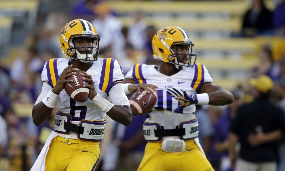 Les Miles won't name a leader in LSU's QB battle, but Brandon Harris has risen to the top _lowres