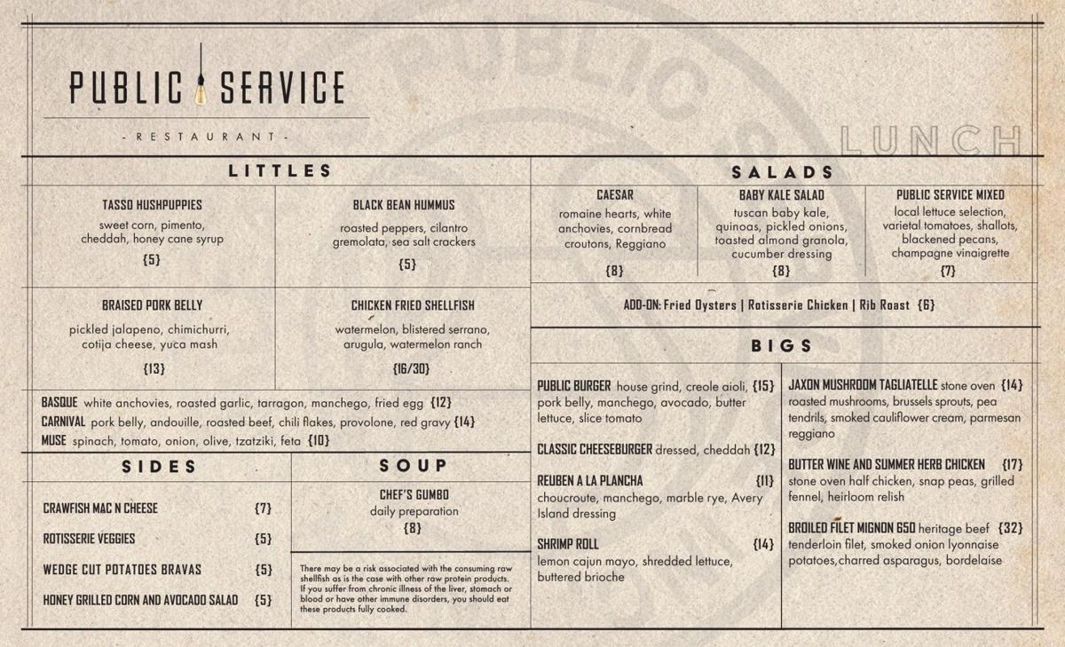 Public Service lunch menu