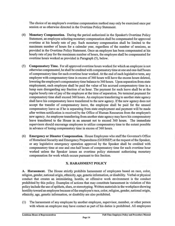 Louisiana House Harassment Policy