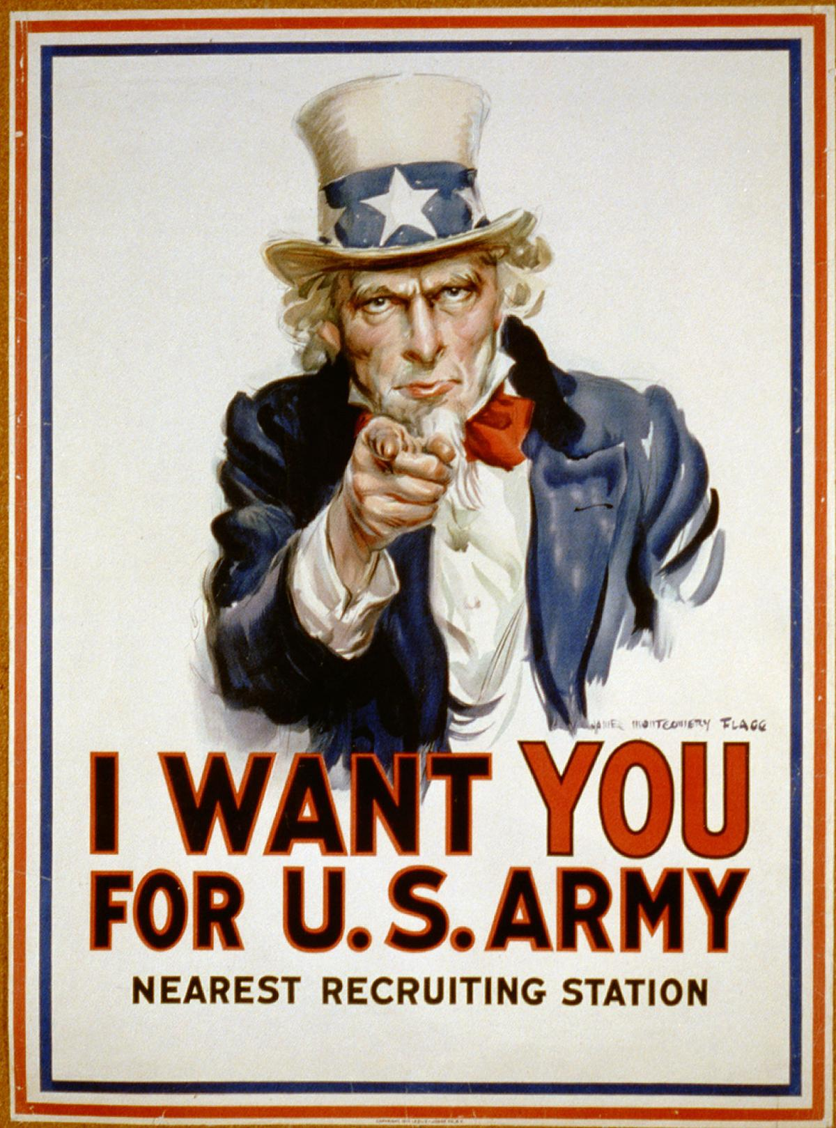 Uncle Sam Recruitment Poster: I Want You for the US Army