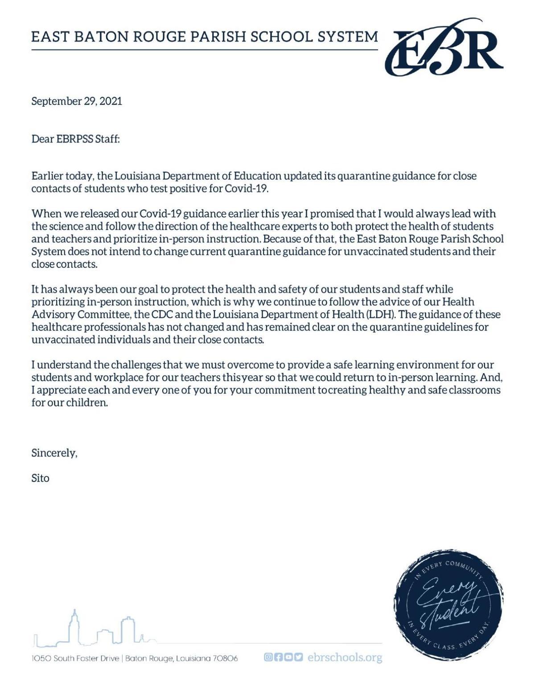 EBR Superintendent Employee Letter 9.29.2021