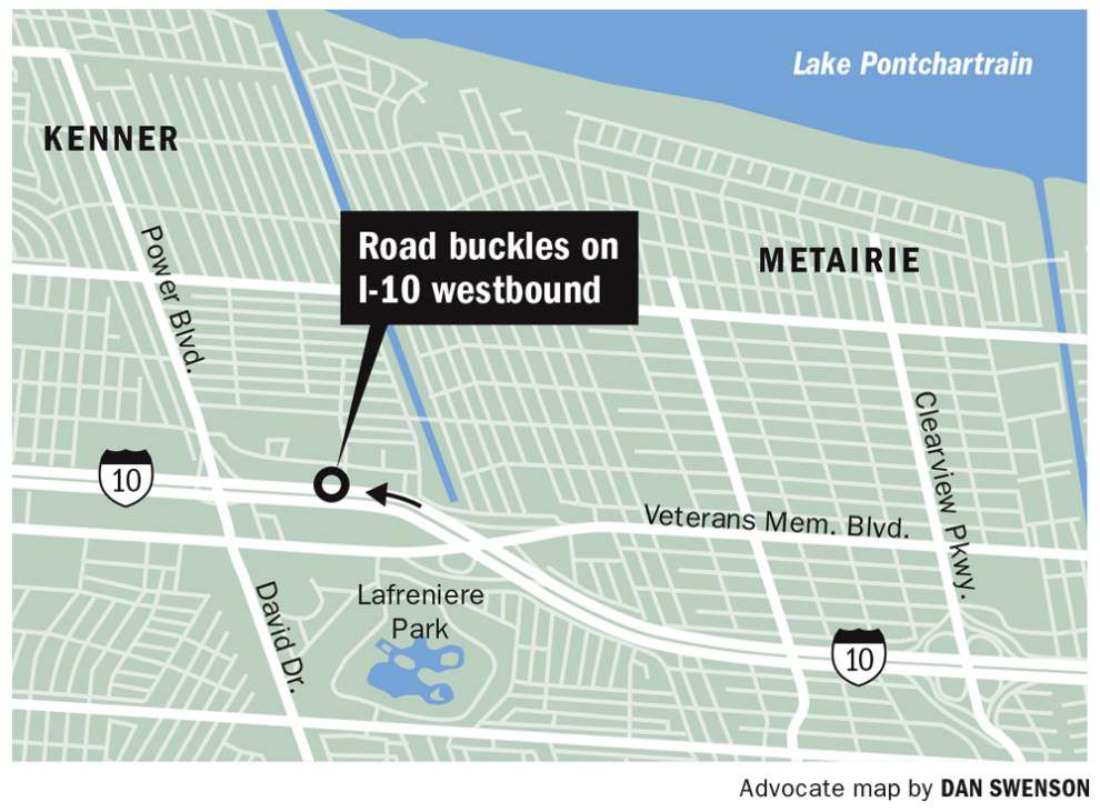 Report: All lanes of I-10 westbound reopened after street buckles in Metairie _lowres