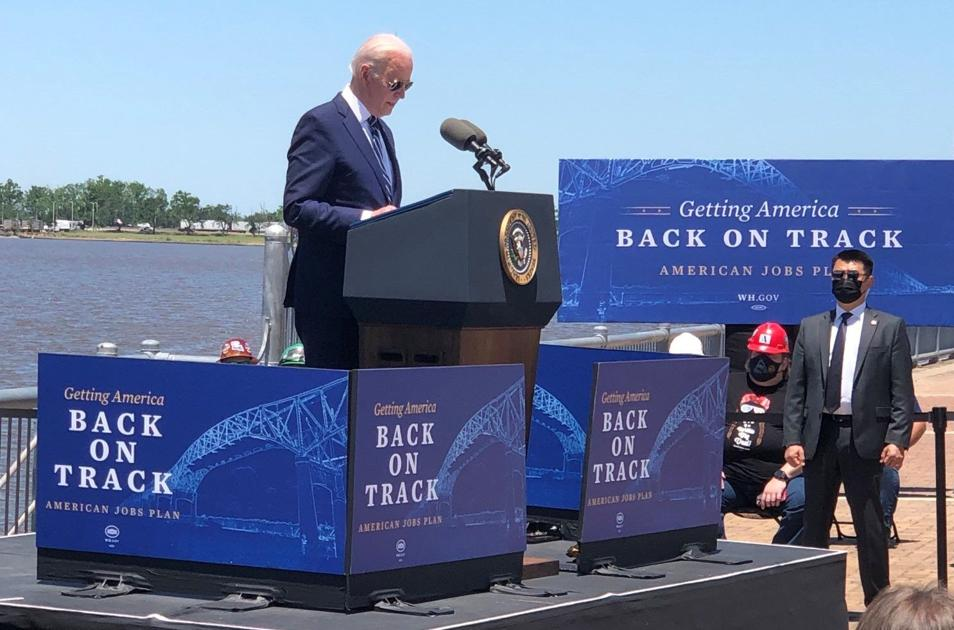 In Lake Charles, Joe Biden stumps for infrastructure bill with aging interstate bridge as backdrop