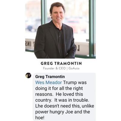 Facebook post by Greg Tramontin