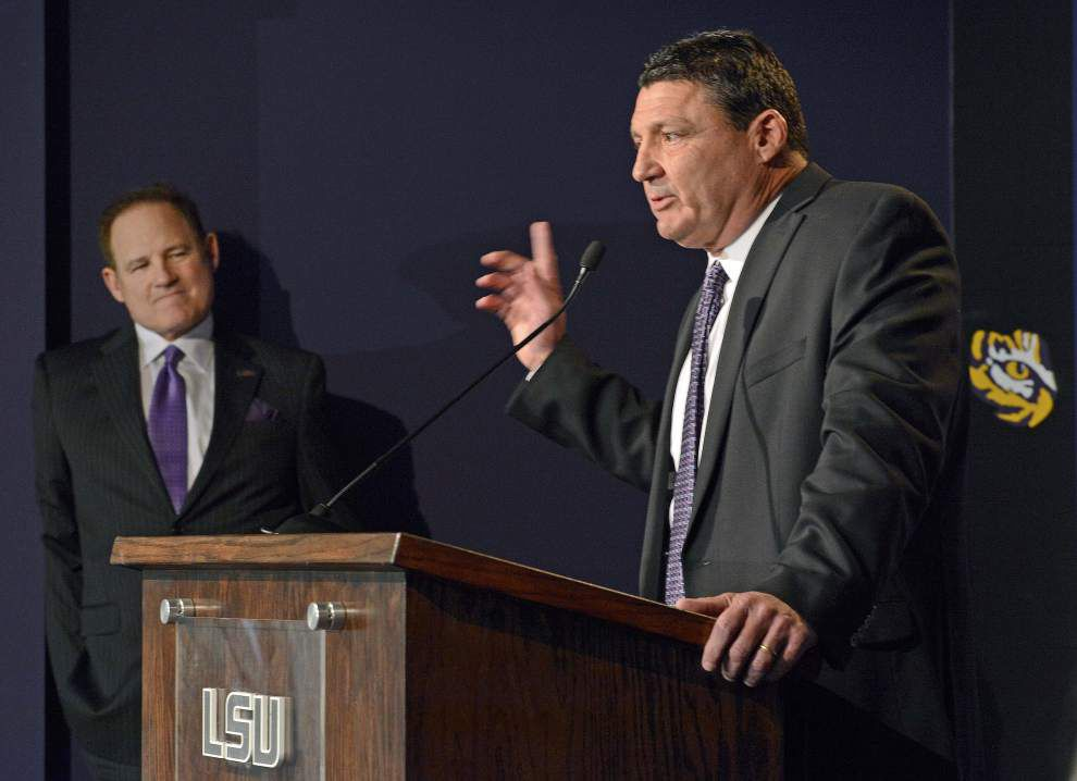 Source: LSU coach Les Miles, Ed Orgeron have 'good talk' amid reports of Mississippi State pursuits _lowres