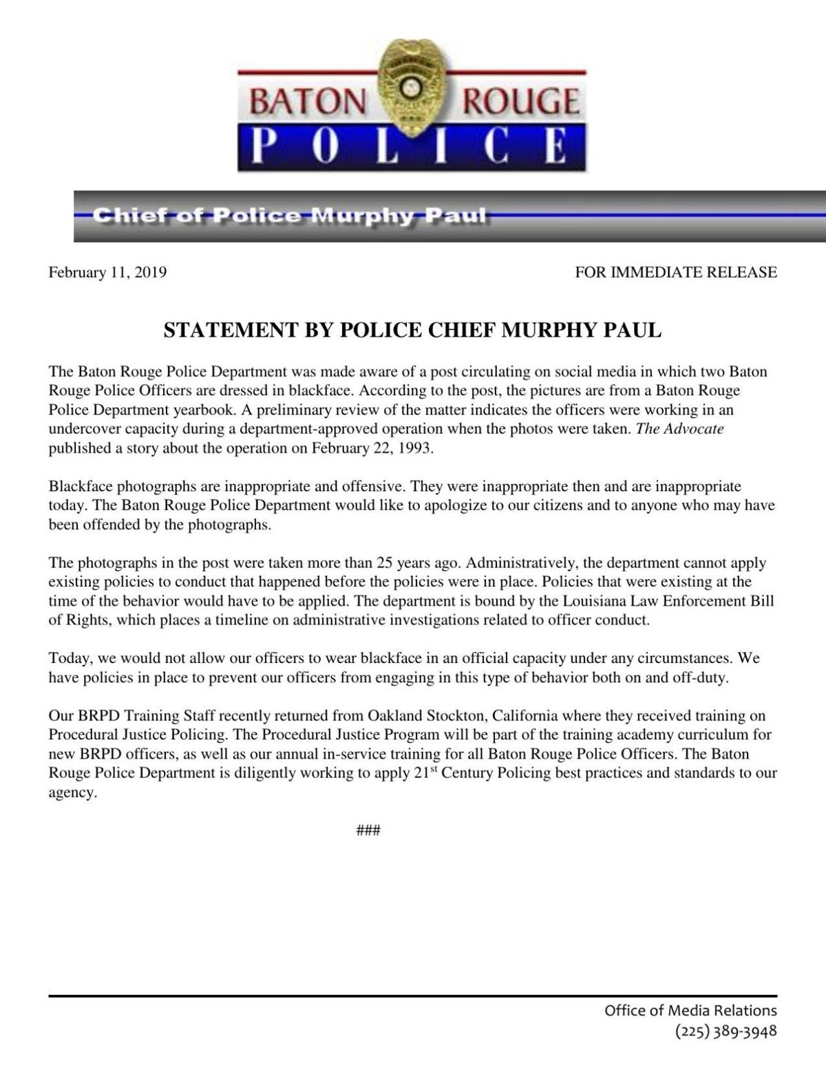 Full BRPD statement on 1993 blackface photo