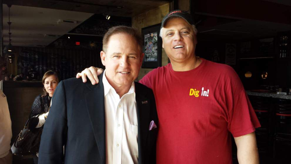 LSU coach Les Miles, Bobby Hebert reunited, speak for first time since awkward moment after 2012 national title game _lowres
