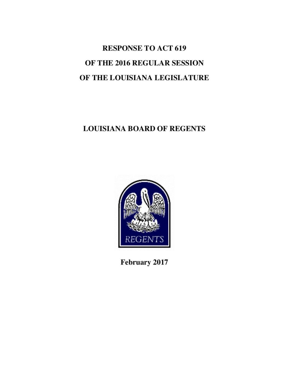 Board of Regents report on higher education, February 2017