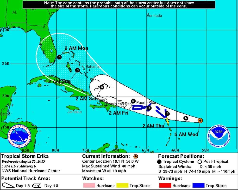 Tropical Storm Erika headed toward Leeward Islands; some slow strengthening expected _lowres