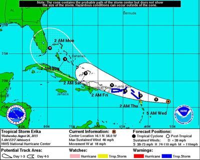 Tropical Storm Erika headed toward Leeward Islands; some slow strengthening expected _lowres