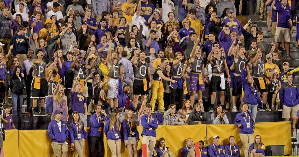 LSU fans show 'PRAY FOR DEVON 33' sign in support of injured Southern football player Devon Gales _lowres