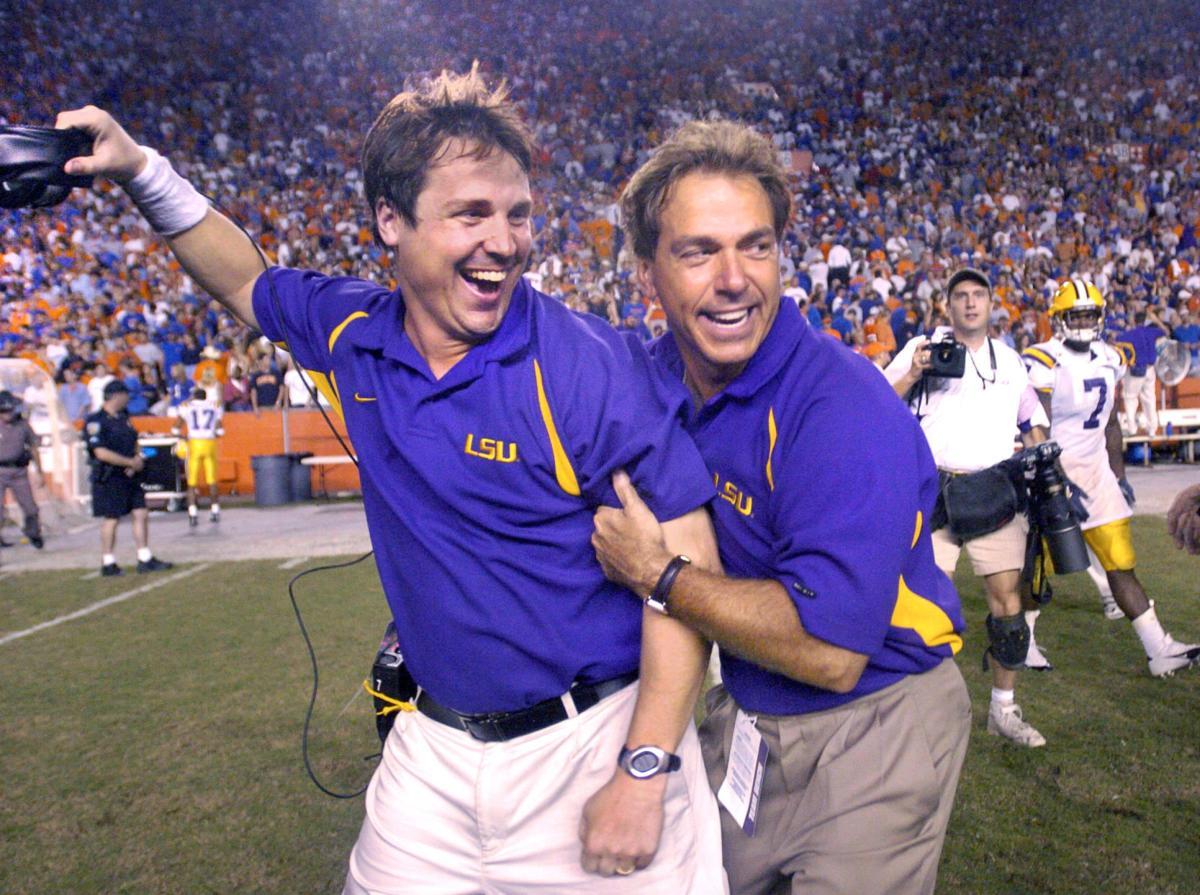 Will Muschamp, Nick Saban celebrate 2004 win over Florida