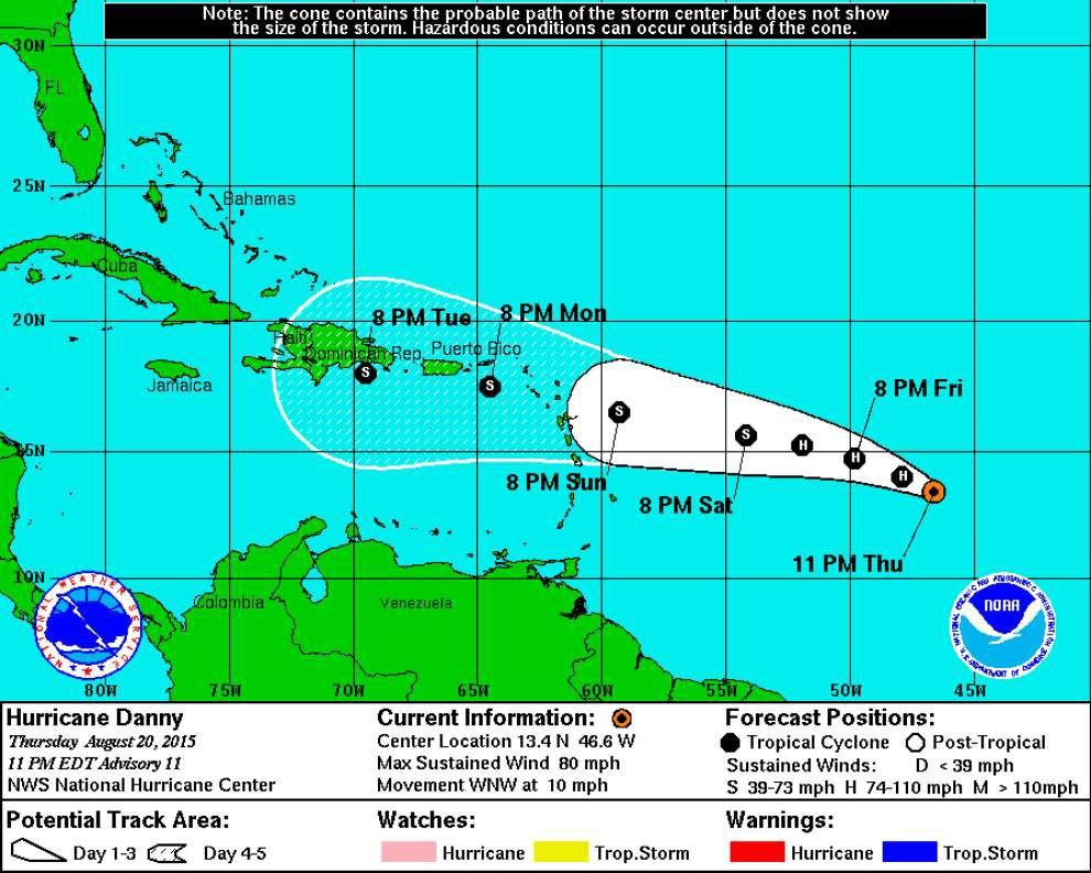 Hurricane Danny strengthens but gradual weakening likely to occur in few days _lowres