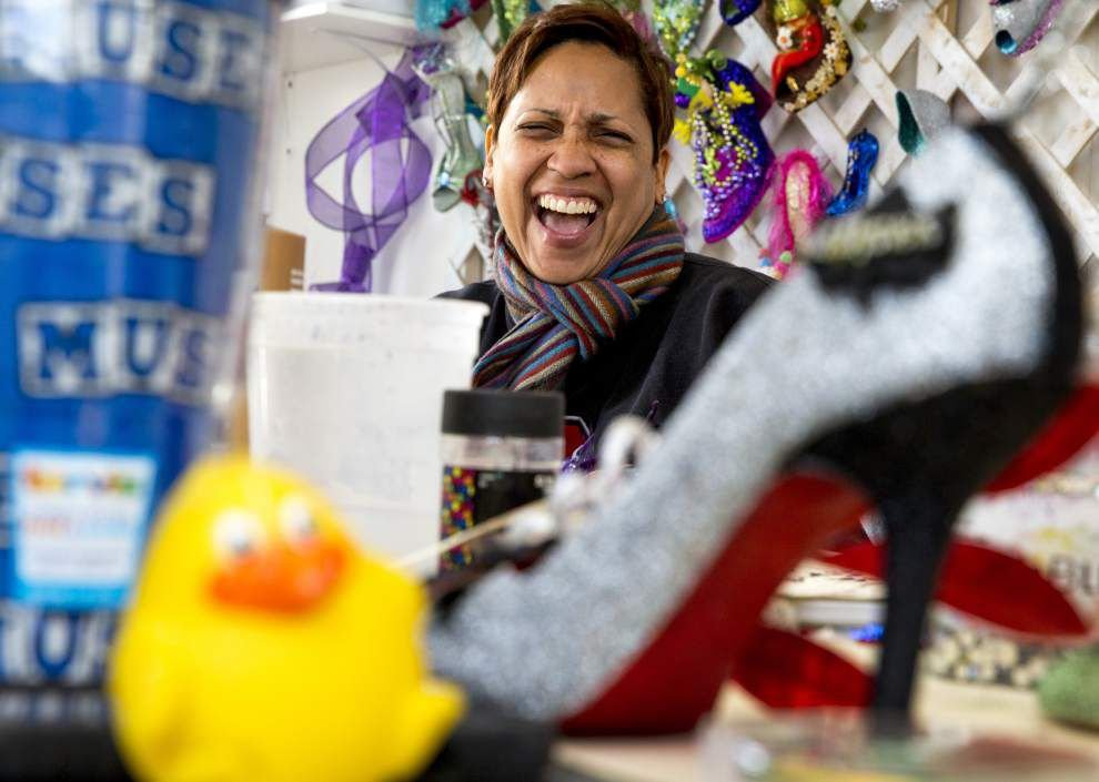 Photos, video: Before they throw 'em, Krewe of Muses hard at work decorating shoes _lowres