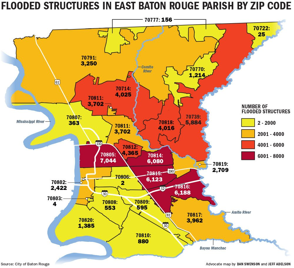 Which Baton Rouge ZIP codes were hit hardest? New data lends scope