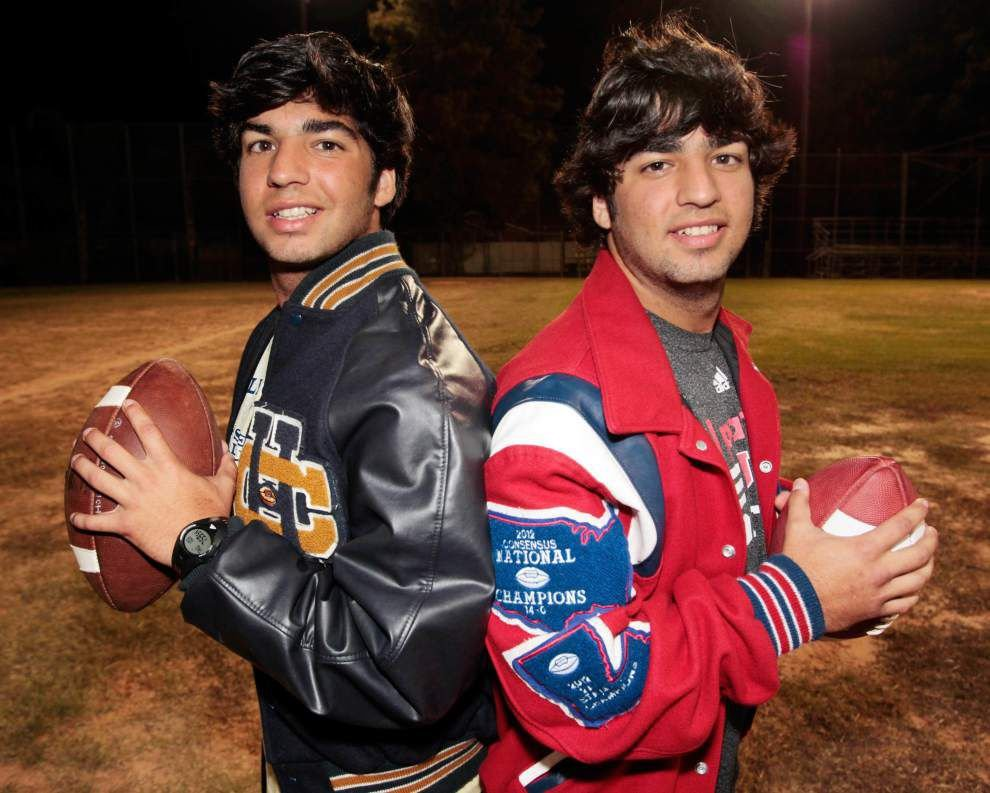 Identical Schexnayder twins face each other on different teams in Friday's Holy Cross-John Curtis game at Tad Gormley Stadium _lowres