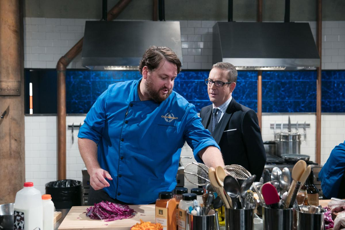 Chef Jay Ducote with Host Ted Allen on  Chopped Gold Medal.jpg