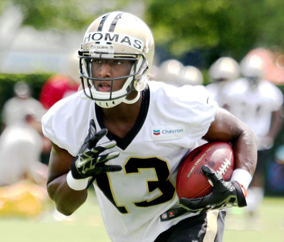 Saints rookie Michael Thomas impresses Drew Brees during Thursday's organized team activity _lowres