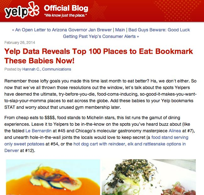 Yelp's 100 Top Places to Eat in the U.S. includes no New Orleans restaurants_lowres