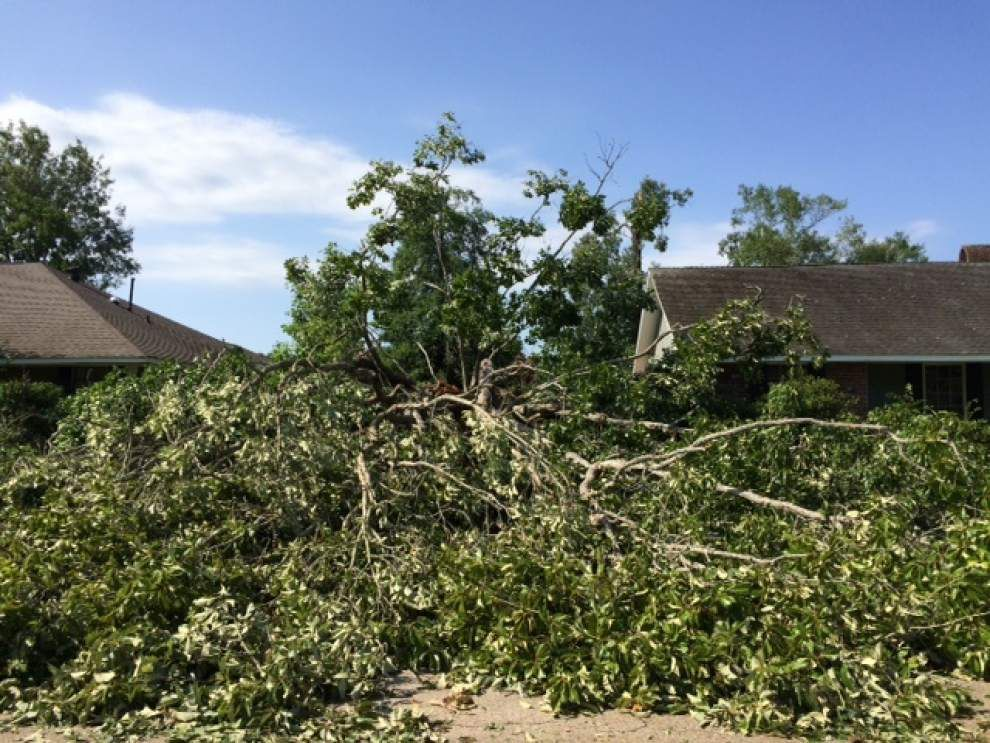 Video: Baton Rouge area clears downed trees, debris from overnight storm; many without power _lowres