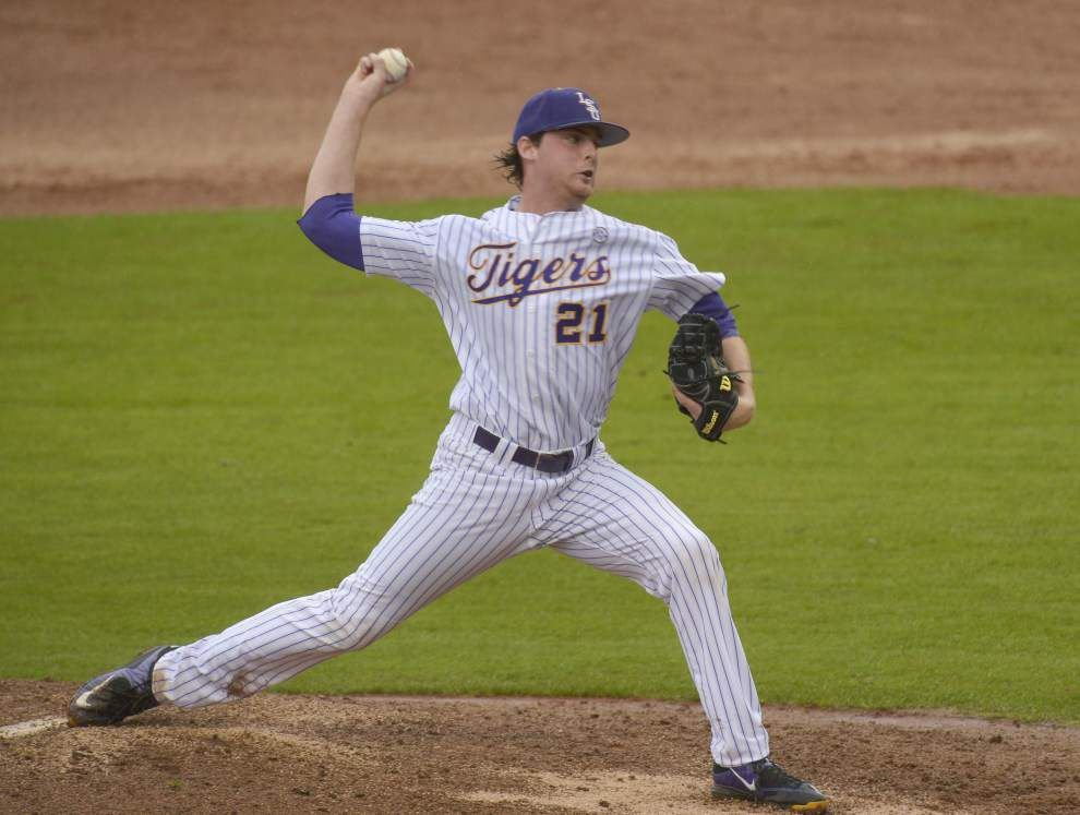 LSU uses a school-record 11 pitchers in a 7-0 win over McNeese State _lowres