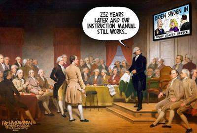 Walt Handelsman: Founding Fathers tune in...