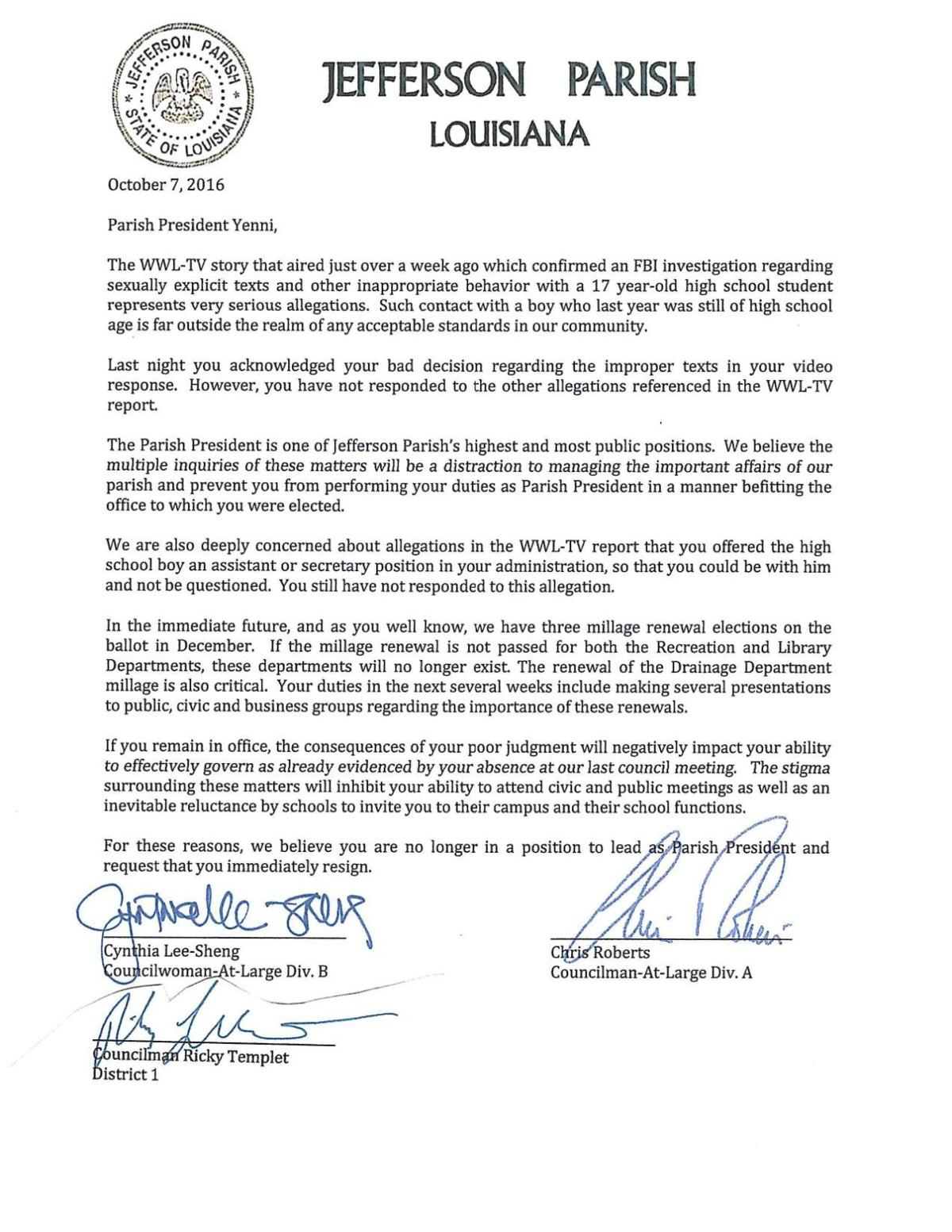 Jefferson Councilmembers Cynthia Lee-Sheng, Chris Roberts and Ricky Templet ask Mike Yenni to resign
