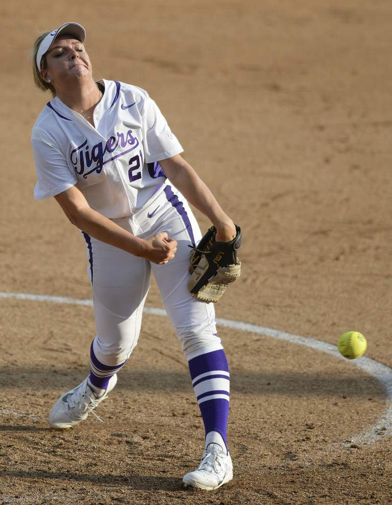 LSU pitchers Carley Hoover and Allie Walljasper learning that strikes aren't always good _lowres