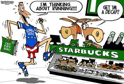 Walt Handelsman: Starbucks CEO Running?
