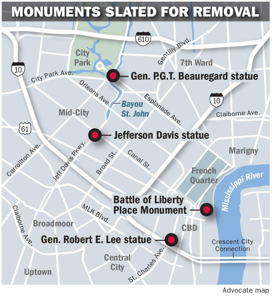 City must leave Confederate monuments in place while case is