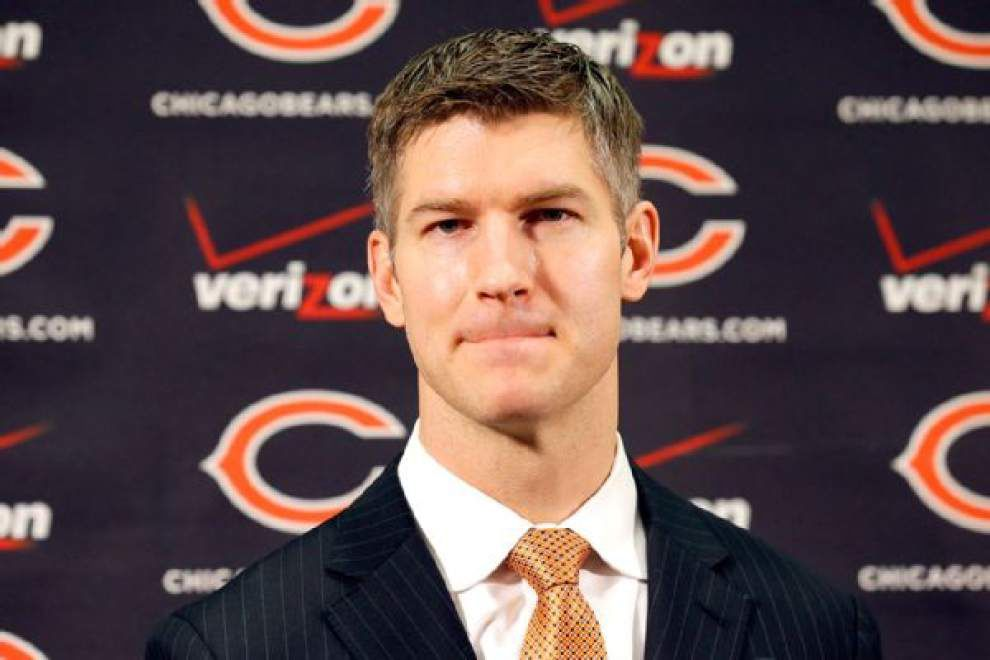 Chicago Bears GM Ryan Pace says best practice is to fill needs through free agency so draft opens up, which is probably what he learned from the Saints _lowres
