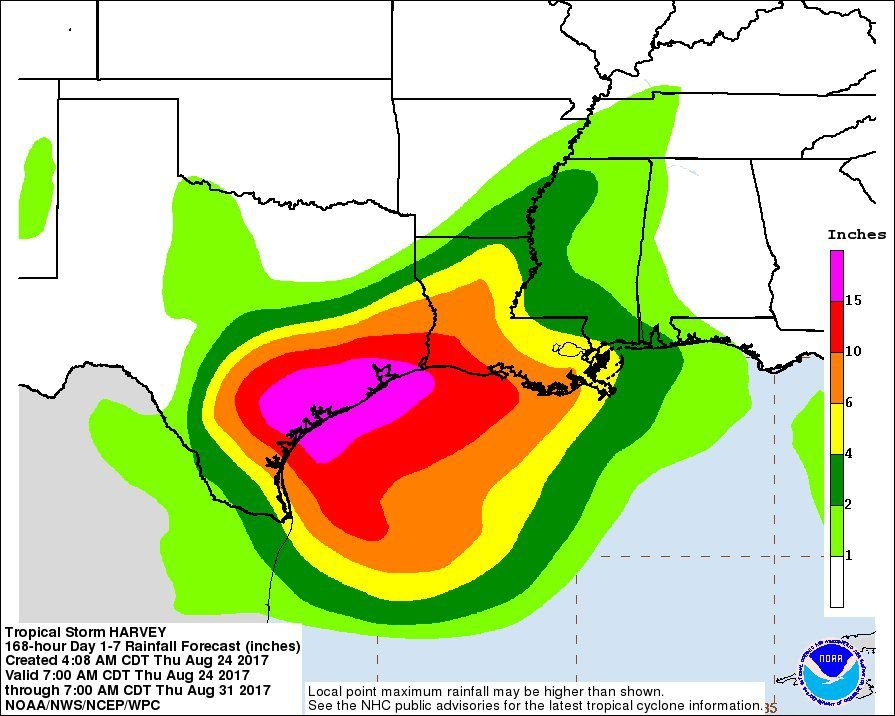 harvey rainfall early thursday
