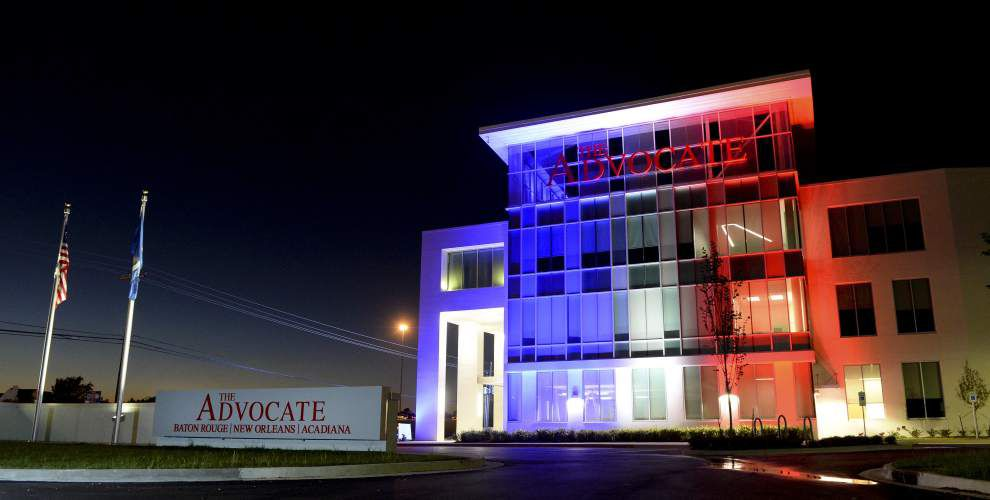 The Advocate's new headquarters lights up blue, white, red in solidarity with France _lowres