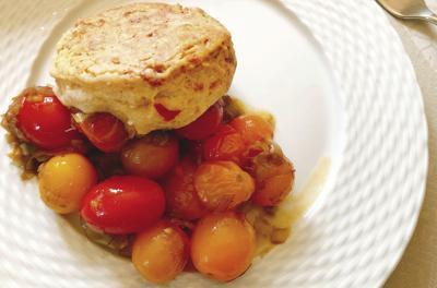 Cherry Tomato Cobbler with Pimento Ch