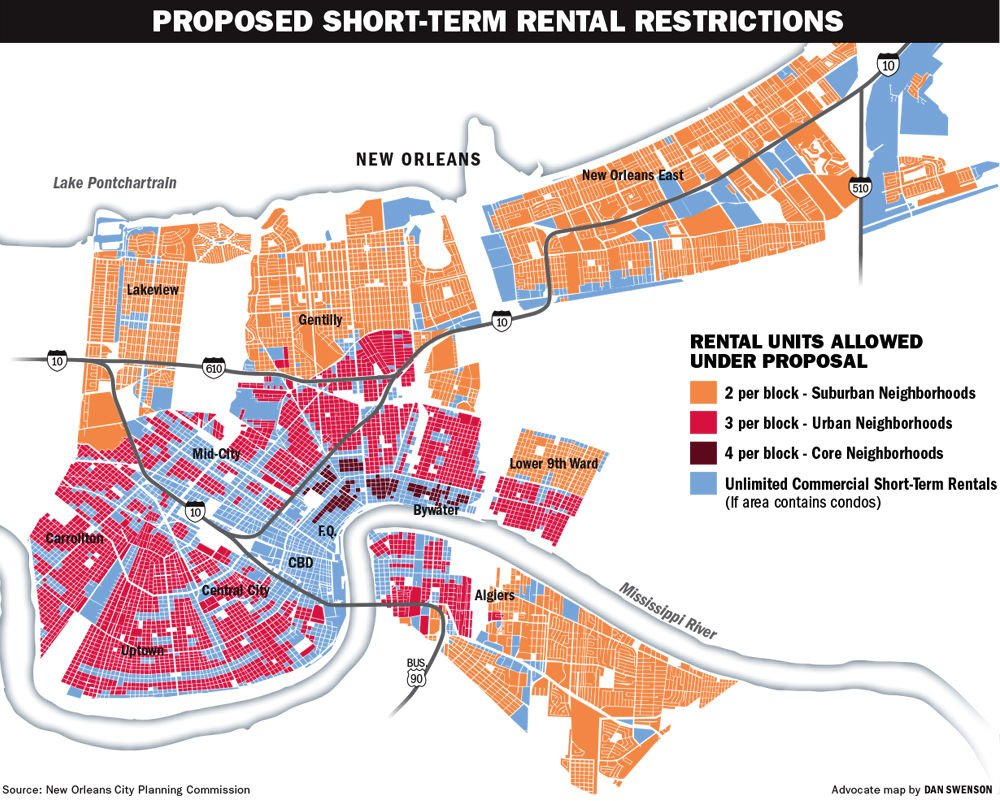 Zoning Map New Orleans Landrieu administration's proposal shows whole home rentals not