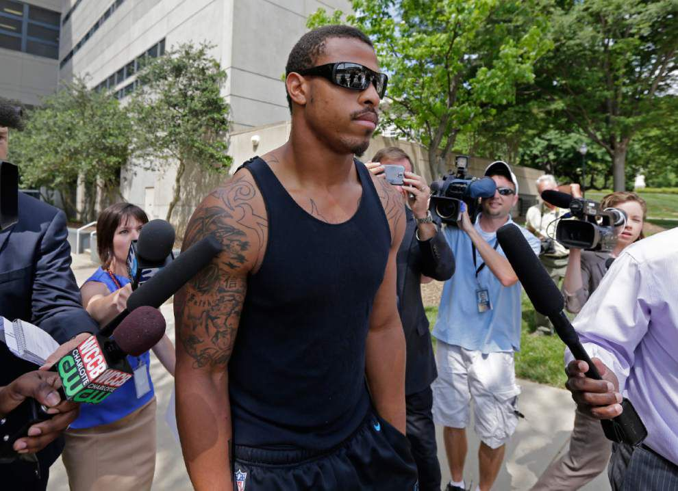 Panthers defensive end Greg Hardy turns over 10 guns _lowres