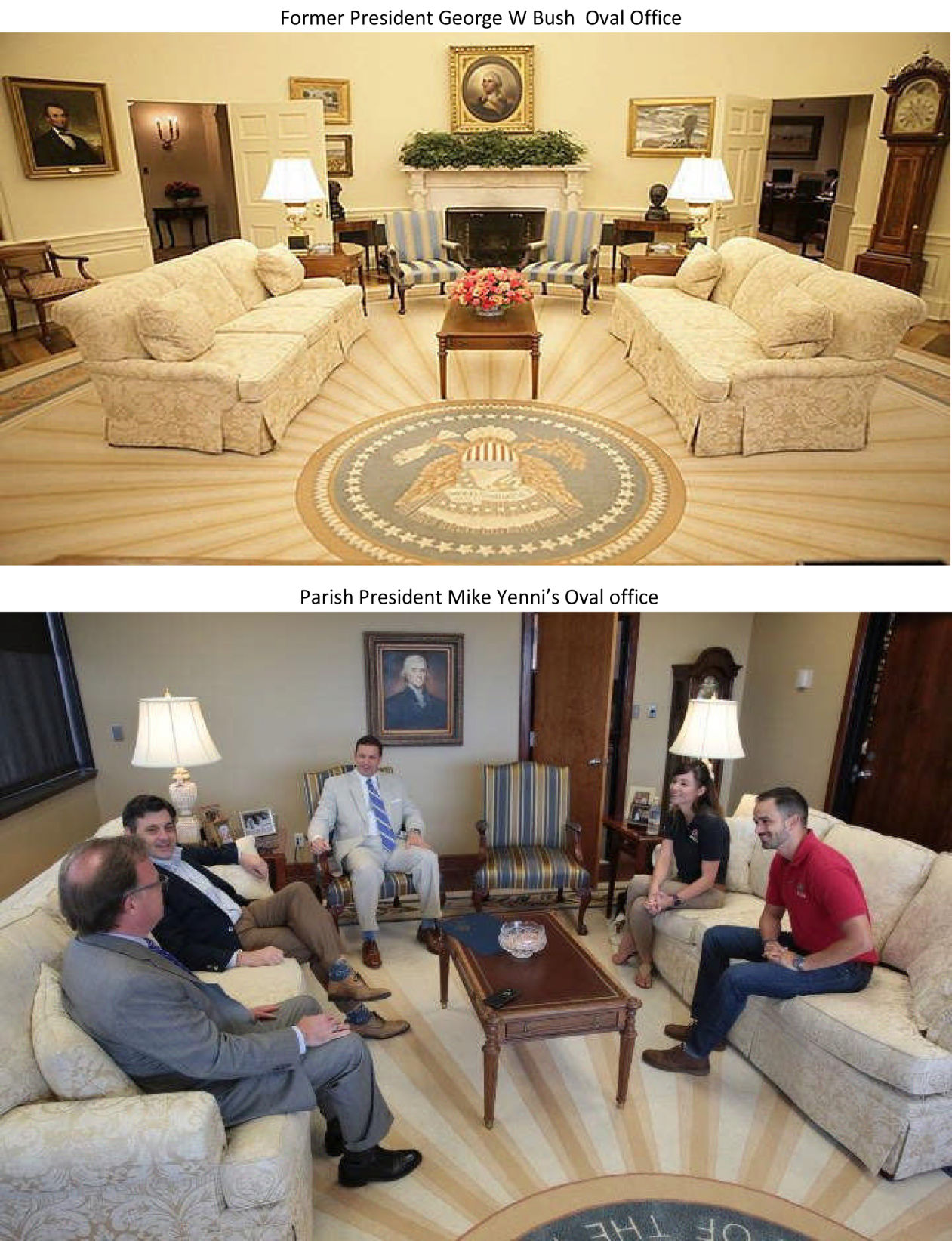 Oval office floor Rug Parish President Mike Yennis Oval Office The Advocate Wwltv Paid For Oval Office Replica Jefferson President Mike
